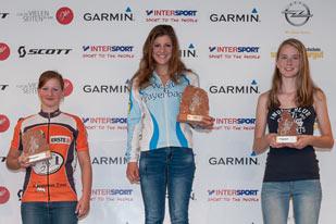 Siegerehrung Salzkammergut Trophy Strecke G - Lisa Pasteiner, Carmen Wimmer, Valentina Kahr (Foto: Martin Bihounek)