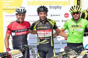 Manfred Zöger (1. Platz), Simon Gessler (2. Platz) und Michael Zink (3. Platz) - Sieger Salzkammergut Trophy 2018 - Strecke D (Foto: Joachim Gamsjäger)