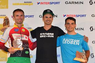 Norbert Mayer (1. Platz), Stefan Seidl (2. Platz) und Dominik Tantscher (3. Platz) - Sieger Salzkammergut Trophy 2018 - Cyclocross Marathon (Foto: Joachim Gamsjäger)