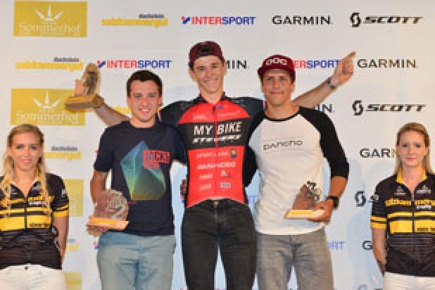Elias Tranninger (1. Platz), Dominik Peinsteiner (2. Platz) und Manuel Widmann (3. Platz) - Sieger Salzkammergut Trophy 2018 - Regionalwertung Strecke D (Foto: Joachim Gamsjäger)