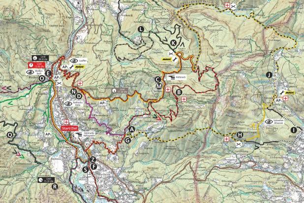 Streckenplan 2019 - Ausschnitt Bad Goisern und Altaussee