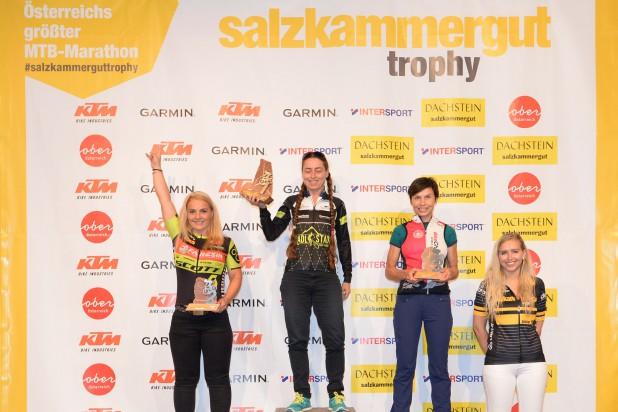 Sabine Schneider (1. Platz), Cora Baltes (2. Platz) und Simone Hakenberg (3. Platz) - Sieger Salzkammergut Trophy 2019 - W50 Strecke C (Foto: Joachim Gamsjäger)